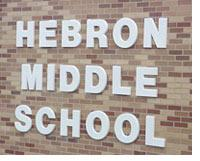 The Hebron Middle School sign