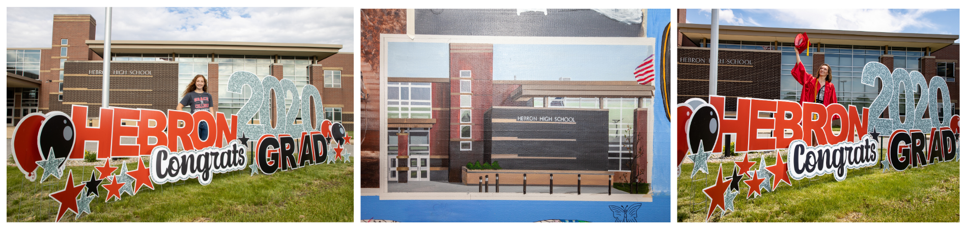 3 photo collage: Left: Senior with graduation sign. Center: Painting of the HS in the town mural. Right: Senior in cap and gown with graduation sign.
