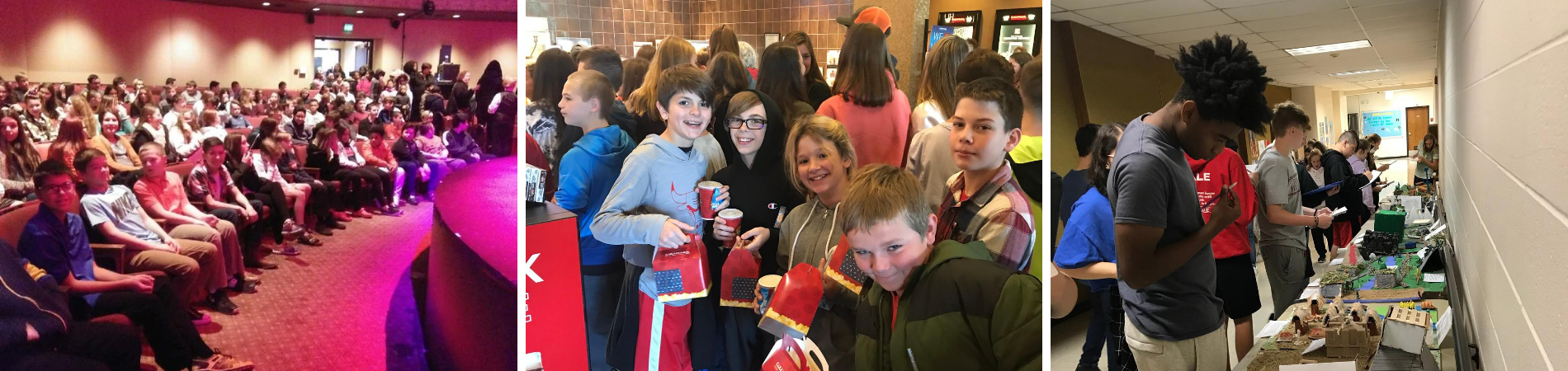 3 photo collage: Left: 7th graders attend a field trip to a theater. Center: 6th grade students are on a HAWK (reward) field trip. Right: Student evaluates projects on display.