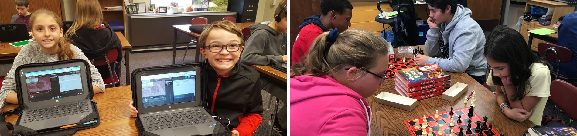 2 photo collage: Left: Students show off work on their Chromebooks. Right: Students compete during chess club.