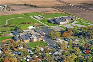 Aerial photo of MSD Boone Township schools campus