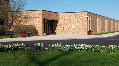 Exterior photo of Hebron Elementary School entrance