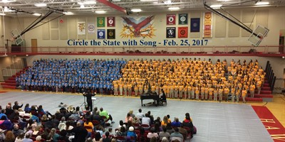 Circle the State with Song Performance on Sat., Feb . 25th