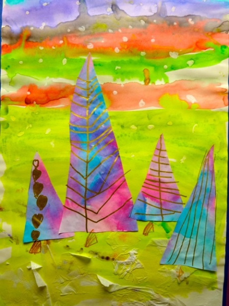 painting by Kdg student winter trees