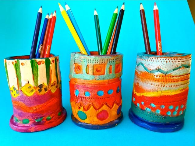 Clay pencil cups