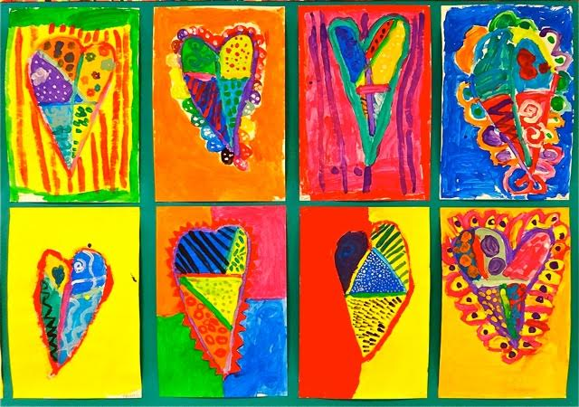 colorful hearts wall display