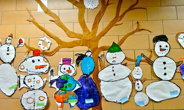 snowmen made out of paper hanging on wall