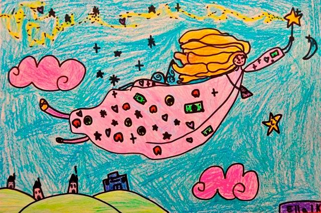 tooth fairy drawing pink dress blue background stars in the sky